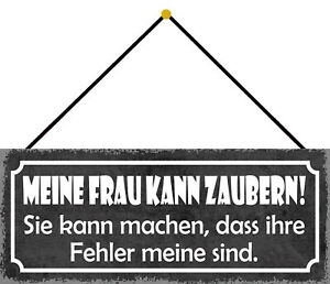 Woman Macht Your Faults For Meinen Shield with Cord Tin Sign 10 X 27 CM K0702-K
