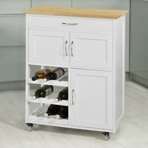 Dettagli su SoBuy Carrello di servizio, Credenza in legno, mobile  cucina,bianco,FKW45-WN,IT