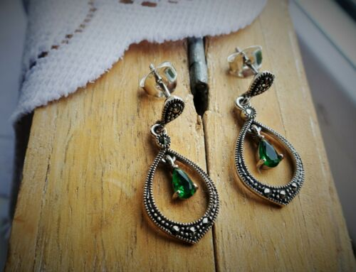 Marcasite /& CZ Drop Earrings My S Collection 925 Sterling Silver