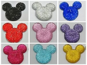 20-Flatback-Resin-Dotted-Rhinestone-Gems-Mouse-Head-Cabochons-30mm-Color-Choice