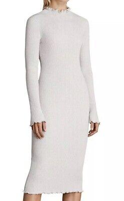 Bnwt Allsaints Eli Frill Dress. Pearl Grey. Size Large.£128 | eBay