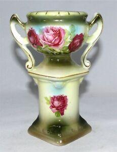 Antique-Austrian-Vase-Urn-1920-039-s-Austria-Hand-Painted-Roses-On-Pedastal