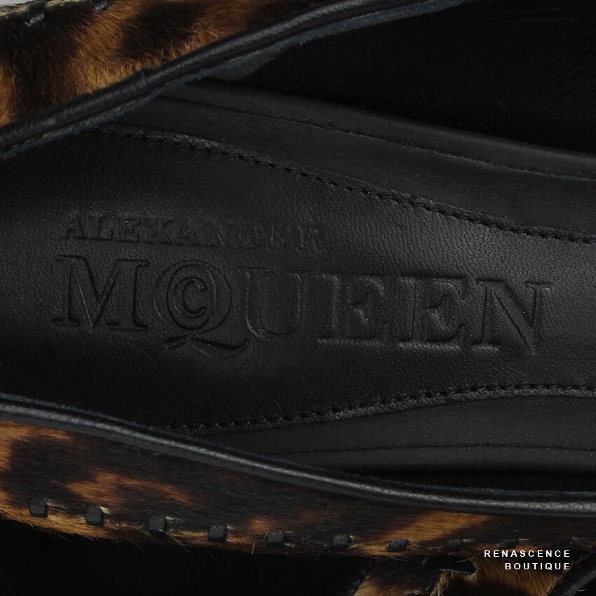 Alexander McQueen Leopard Pelt Print Whipstitched Pelt Leopard Peep-Toe Pumps Heels IT37 UK4 5e0327