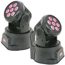 Pair -POWERFUL RGBW Quad LED Moving Head DJ Spot Light–Sound Activated Stage DMX