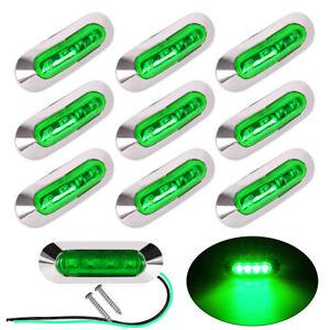 10X-Side-Marker-Green-4-LED-Light-Indicator-Lamp-For-Trailer-Truck-Lorry-12-24V