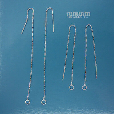 4PC Sterling Silver Box Chain Ear Thread Earrings Wire w/Loop ap.100mm #33540