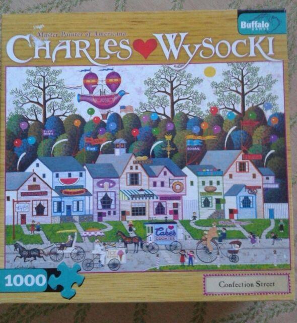 WYSOCKI puzzle CONFECTION STREET 11406 1000 pc COMPLETE jigsaw Bonus Poster