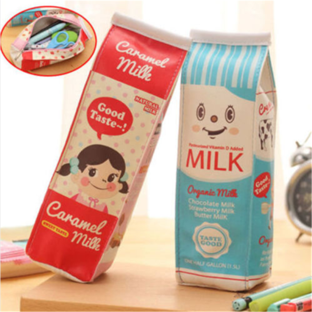 PU Simulation Milk Cartons Pencil Case Kawaii Stationery Pouch Pen Bag Cute Gift