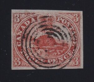 Canada Sc #1 (1851) 3d red Beaver on Laid Paper VF Used
