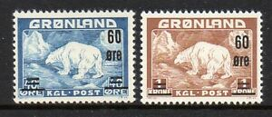 Greenland-Sc-39-40-1956-60-ore-surcharged-Polar-Bear-stamp-set-mint-NH
