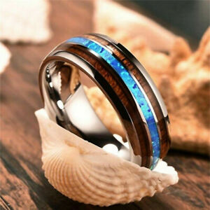 Bohemian-For-Men-women-8mm-Tungsten-Wood-and-Abalone-titanium-steel-Rings-Gift