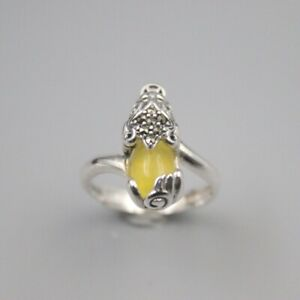 S925 Sterling Silver Yellow Chalcedony Ring Luck Bless Pixiu Ring 18mmW US7