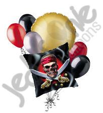 7 pc Happy Birthday Pirate Skull Balloon Bouquet Party Decoration Swords Black