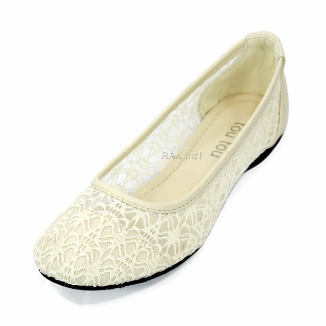 Women Ballet Lace Mesh Flat Slip On Shoes Casual Dress Loafers Low Heel