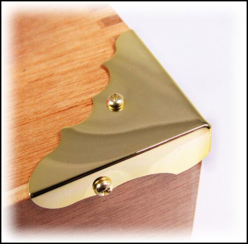 Cigar Box Guitar Parts: 8pc. Shiny Gold Finish Box Corners with Screws