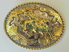 NEW BULL RODEO COWBOY OVAL SHINE GOLD SILVER WESTERN BELT BUCKLE