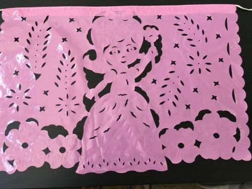PAPEL PICADO BABY SHOWERS GIRLS BIRTHDAY PARTY DECORATIONS PAPER// PLASTIC PINK