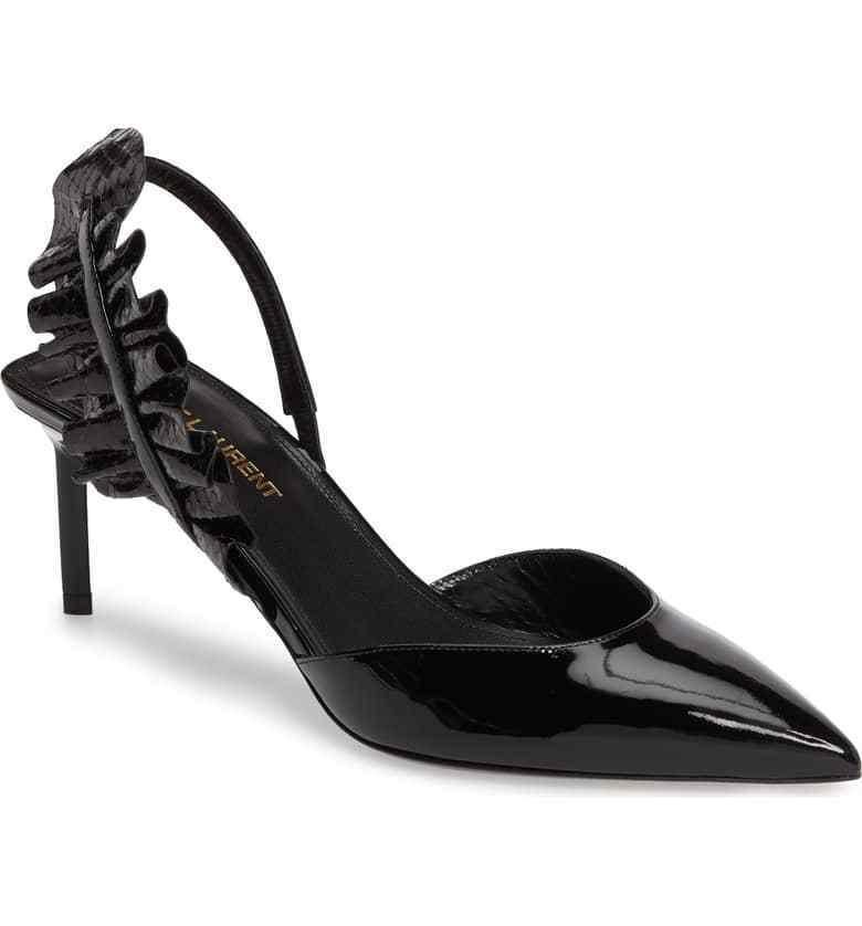 NEW $995+ SAINT LAURENT EDIE Slingback Pump Heel Shoe Black Black Shoe Patent 38 - 7.5 fec65f