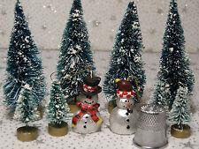 Small Sisal Bottle Brush Trees Snowmen Christmas Village Accessory New Lot 10 #