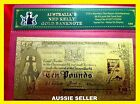 NED KELLY GOLD AUSTRALIA BANK NOTE 10 POUND BANKNOTE 1 OF 5 24KT GOLD 999.9 COA