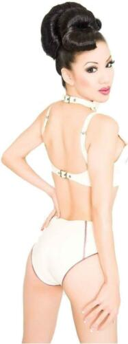 Westward Bound Morgana L/'Amour Latex Bra Warm White with Pearl Sheen Rose Trim