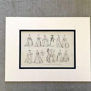 1900-Antico-Moda-Stampa-Storico-Costume-Donna-Abito-Attraverso-The-Eta