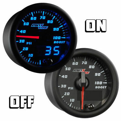 MaxTow Double Vision 35 PSI Turbo Boost Gauge Kit White Gauge Face for Trucks Analog /& Digital Readouts Includes Electronic Pressure Sensor 2-1//16 52mm Blue LED Illuminated Dial
