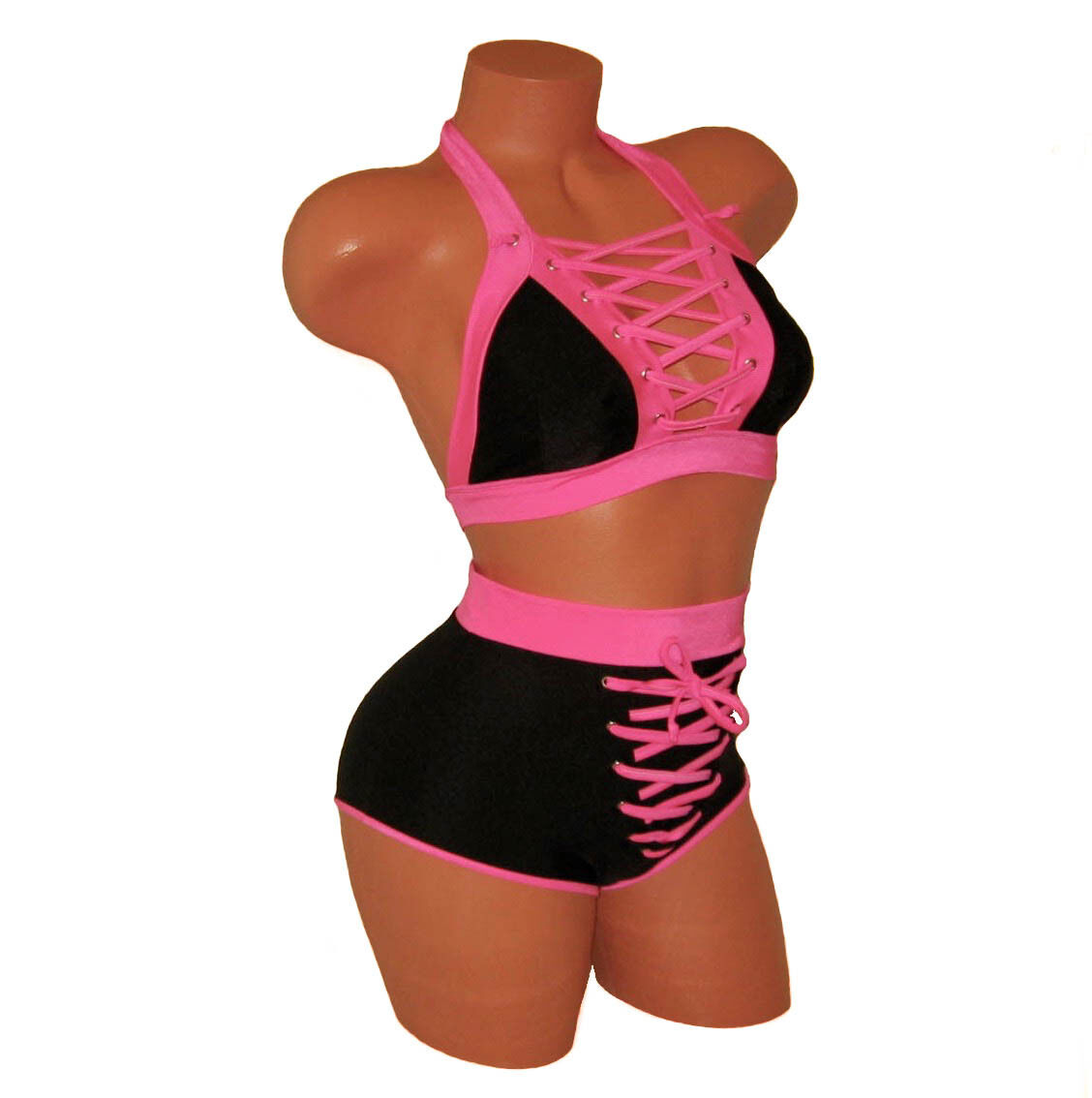MULTI LACE-UP CROP TOP, HIGH WAISTED SHORTS POLE FITNESS DANCING FESTIVE OUTFIT