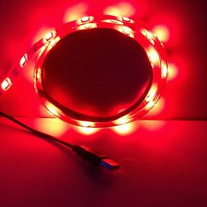 Ambient lighting red led strip light 1m 5050 leds waterproof 5vusb image is loading ambient lighting red led strip light 1m 5050 mozeypictures Gallery