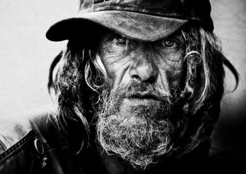 Street Art Portrait Picture Poster Art Hobo Homeless Man Framed Print