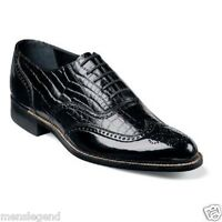 Stacy Adams Mens Dayton Black Dress shoes Wing Tip Patent Leather Tuxedo 00267