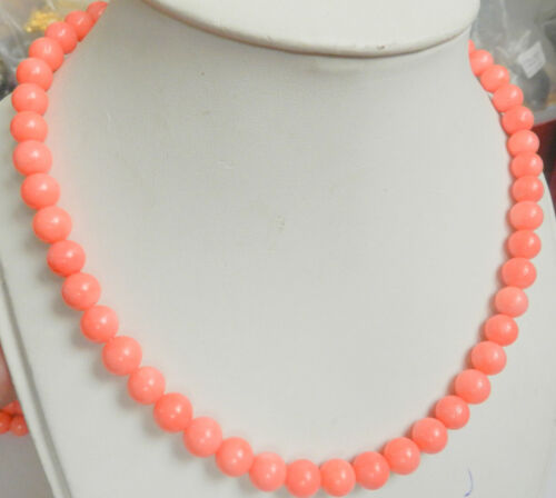 """6//8mm Natural Japan Sea Rose Corail Pierres Précieuses Ronde Collier 18/"""" AAA"""