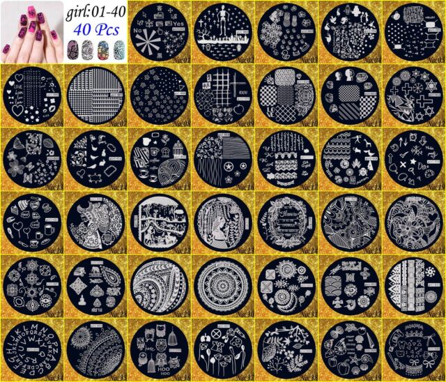 40×Manicure Template Nail Art Printing Image Polish Stamp Plates Scraper Stamper