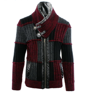 LCR Men/'s Fashion Sweater Knit Cardigan Color Burgundy//Black 5290