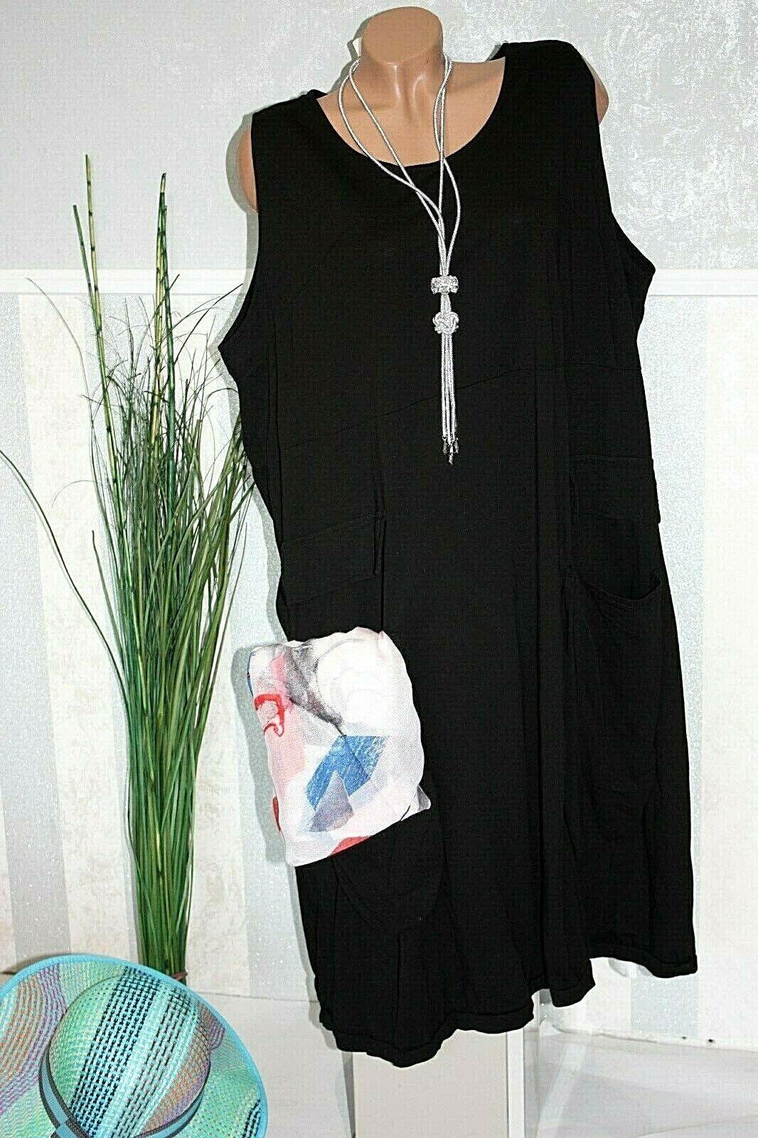 Lagenlook Damen Kleid SCHWARZ T.Shirt Kleid Überwurf Sommerkleid 50 52 54  416-1