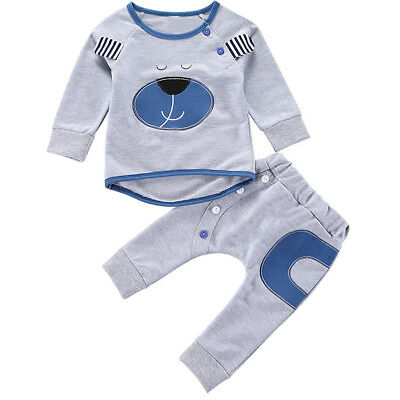 2pcs Newborn Kids Baby Boy Girl Bear T-shirt Tops+Long Pants Outfits Clothes Set