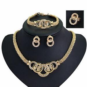 1Set-Mode-Schmuckset-18k-Vergoldet-halsketten-Armband-Ohrring-Schmuck-Ring-Sets