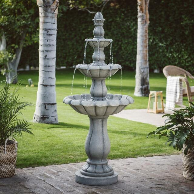 Large Water Fountain Outdoor Three Tier 60In Garden With Pump Traditional  Decor
