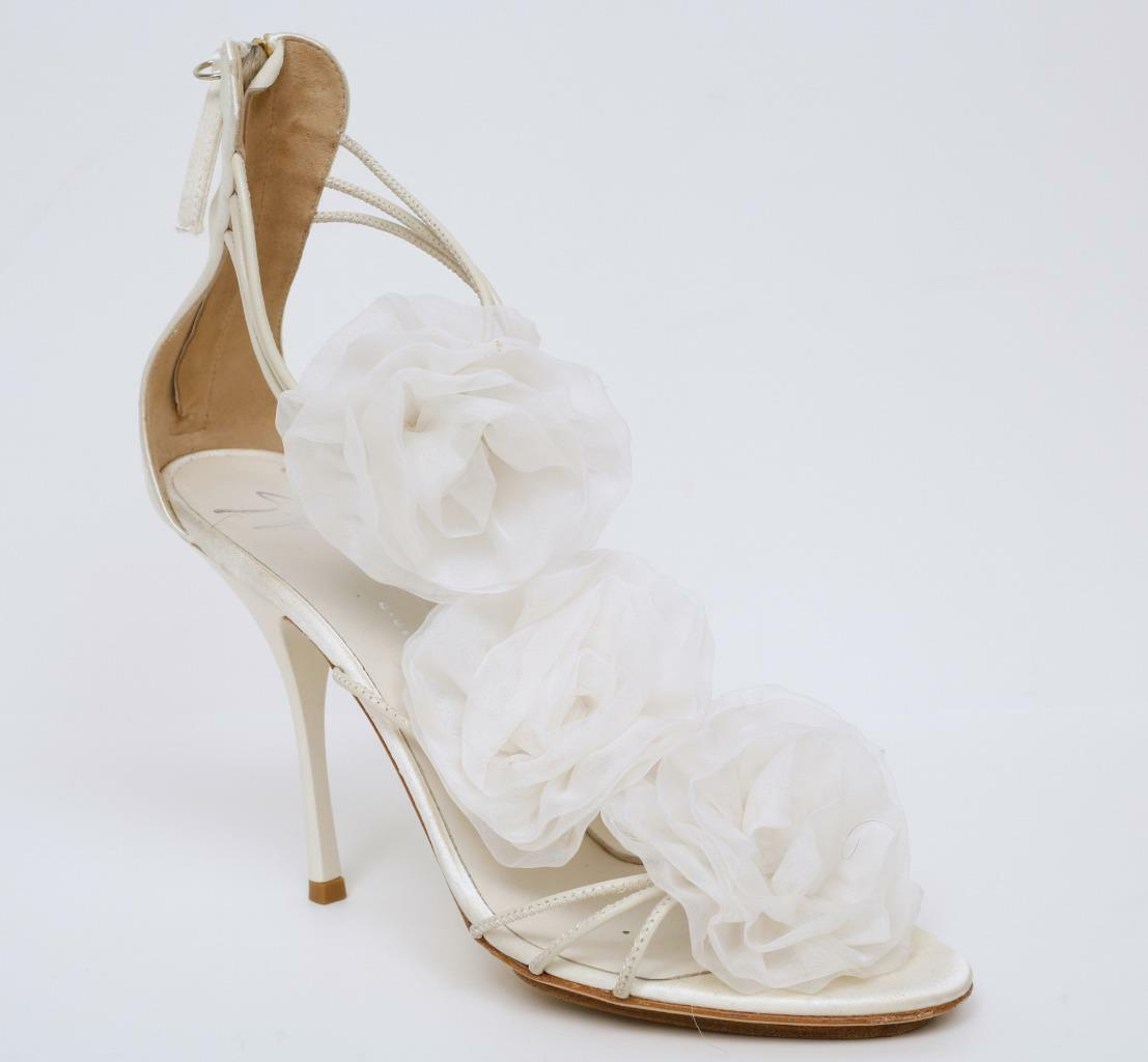 GIUSEPPE ZANOTTI White Satin pink Dress Sandles Strappy High Hell Pumps 9-39