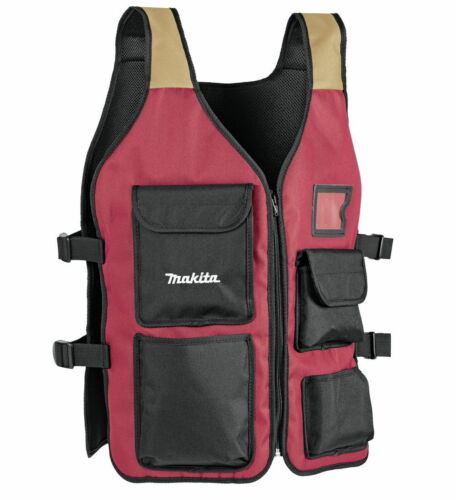 MAKITA Red Worker's Vest Tool Vest for Carpenters 6612766128 in ML Size