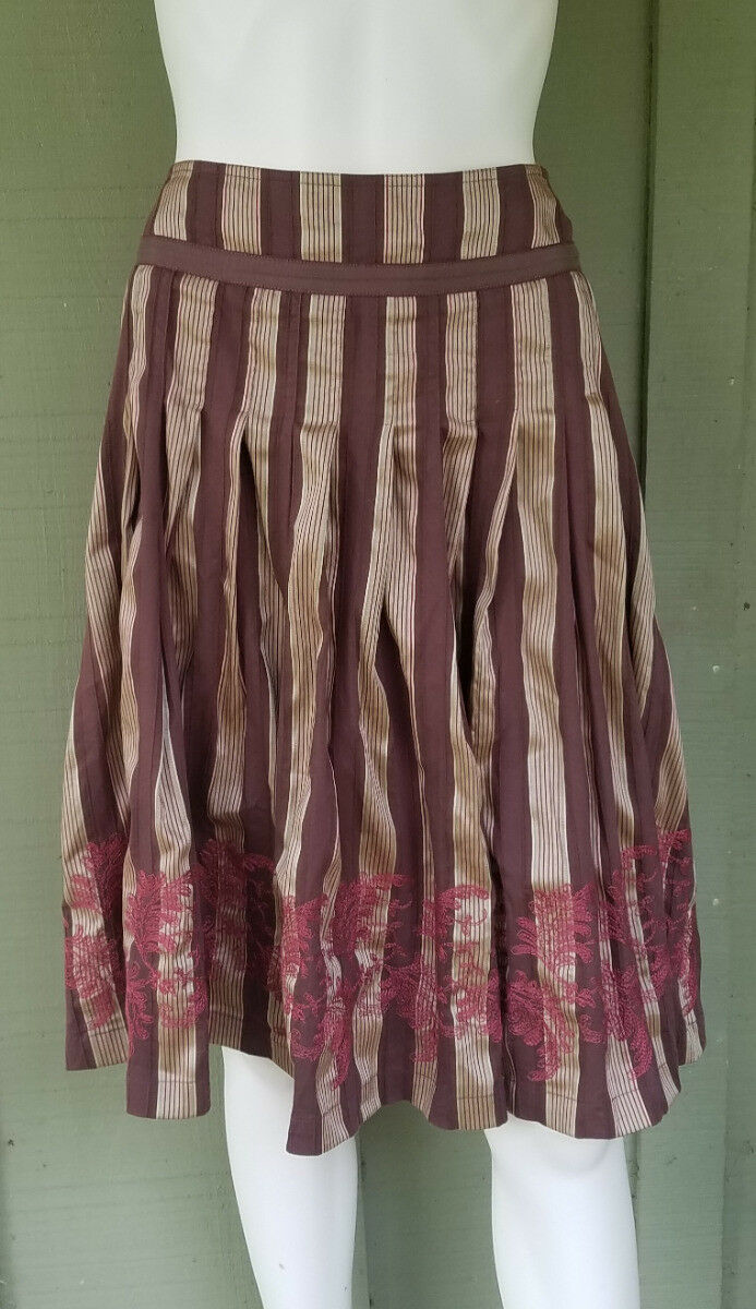 NIC + ZOE Brown gold Striped Pleated Skirt 4 Embroidered Cotton Blend