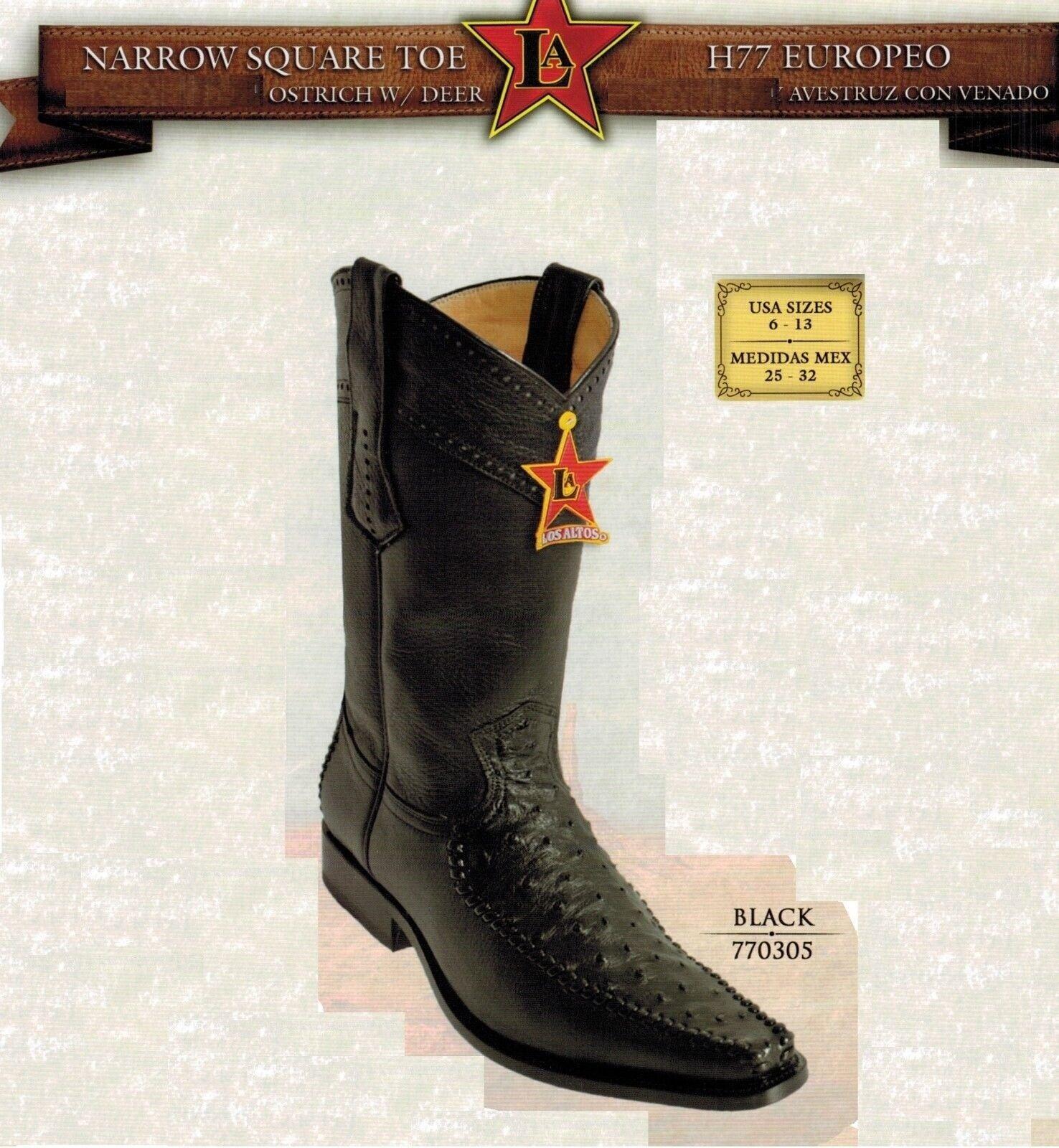 Los Altos Men's Narrow Square Toe Ostrich Cowboy Western stivali
