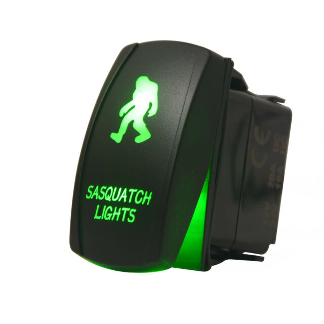 Laser SASQUATCH Rocker Switch ON-OFF led Light 20A 12V 5pin GREEN