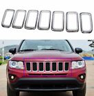 7pcs For 2011-2016 Jeep Compass Chrome Front Grille Trims Grill Insert Frames