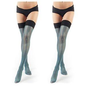 ElsaYX Women s Nylon Thigh High Rib Top Stockings 689741766262  2fff0681d6