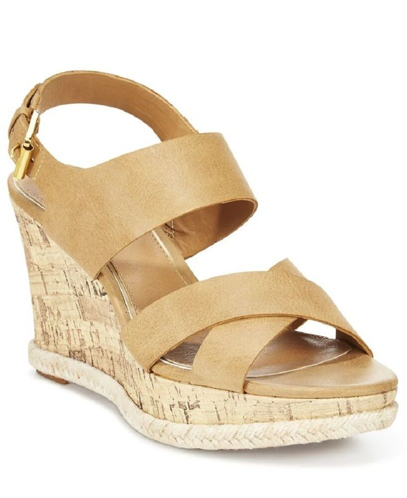 AMERICAN LIVING ADRINA PLATFORM WEDGE SANDALS IN NUDE SIZE 10 NIB