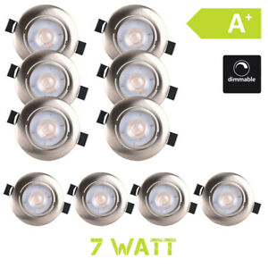 LED-Luce-da-Incasso-Spot-Piatto-7W-Dimmerabile-Bianco-Caldo-10er-Set