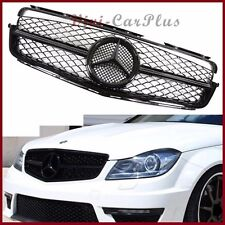 For 08-14 BENZ W204 4DR C250 C300 C350 AMG Look Painted Gloss Black Front Grille