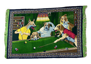 Vintage-Rare-Dogs-Playing-Pool-Hanging-Wall-Tapestry-Art-Decor-Bar-Billiards-HTF