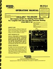 Lincoln Welders Idealarc Tig 250250 Welding Power Source Owner Operating Manual